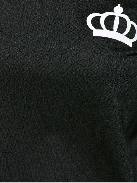 sale Crown and Striped Pattern Gym Outfits - BLACK M Mobile