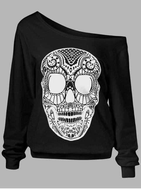 affordable Oblique Shoulder Skulls Print Sweatshirt - BLACK M Mobile