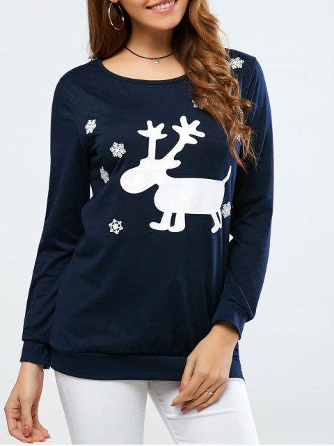 shops Christmas Deer Print Snowflake Sweatshirt - PURPLISH BLUE XL Mobile