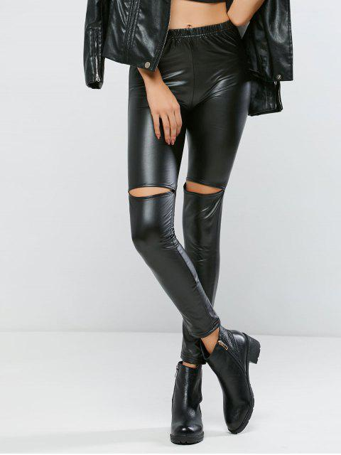 affordable Ripped PU Bodycon Pants - BLACK S Mobile