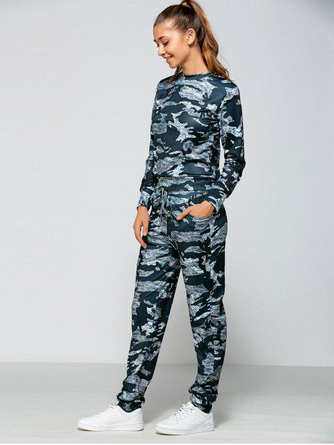 shop Drawstring Waist Camo Printed Sports Suit - MARINE CAMOUFLAGE M Mobile