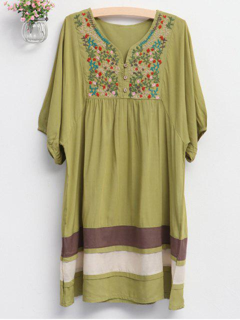 ladies Embroidered Bib Tunic Dress - GREEN ONE SIZE Mobile