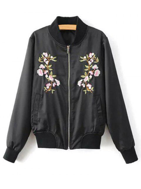 shop Floral Embroidered Pilot Jacket - BLACK M Mobile