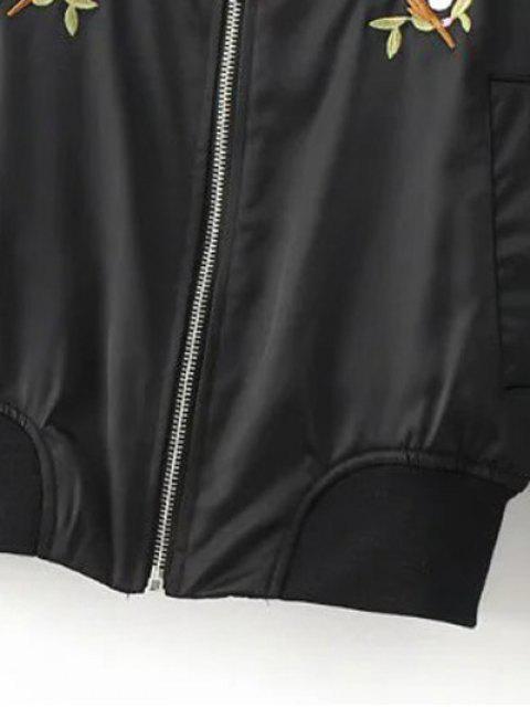 outfits Floral Embroidered Pilot Jacket - BLACK L Mobile