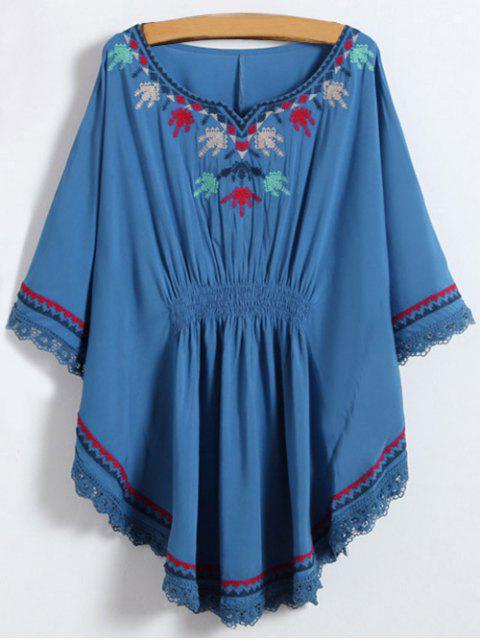 shop Embroidered Kaftan Top - DENIM BLUE  Mobile