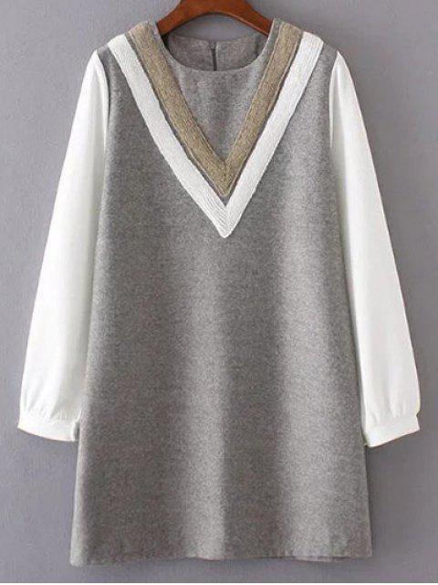 Robe en laine aboutée a col V  avec motif - Gris S Mobile