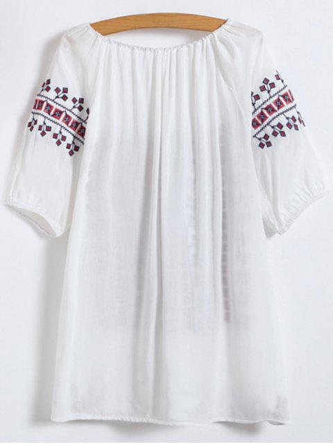 womens Embroidered Elbow Sleeve Top - WHITE ONE SIZE Mobile