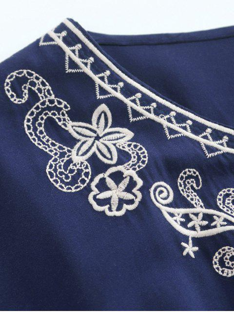 trendy Tie Neck Embroidered Kaftan Top - PURPLISH BLUE ONE SIZE Mobile