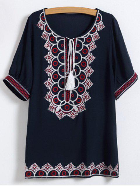 trendy Scoop Neck Embroidered Mini Dress - PURPLISH BLUE ONE SIZE Mobile