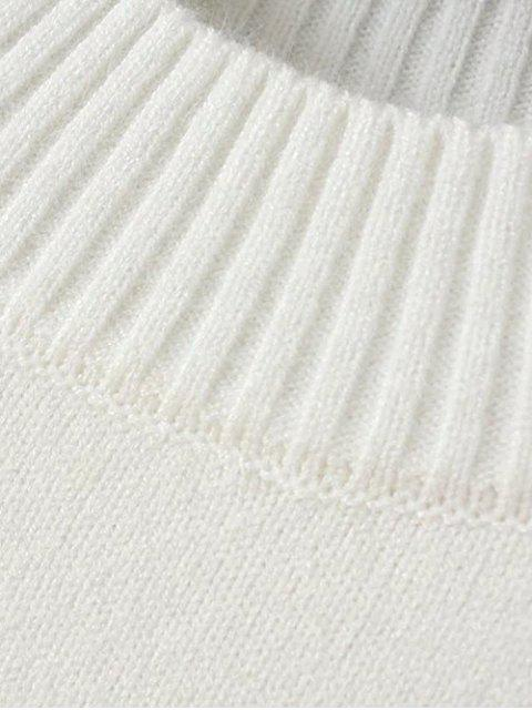 fancy Bird Embroidered Mock Neck Knitwear - WHITE ONE SIZE Mobile