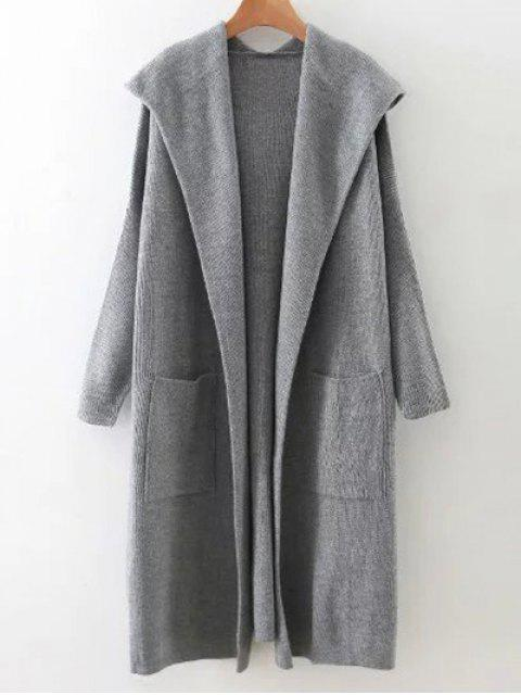 sale Long Hooded Knitted Cardigan - GRAY ONE SIZE Mobile