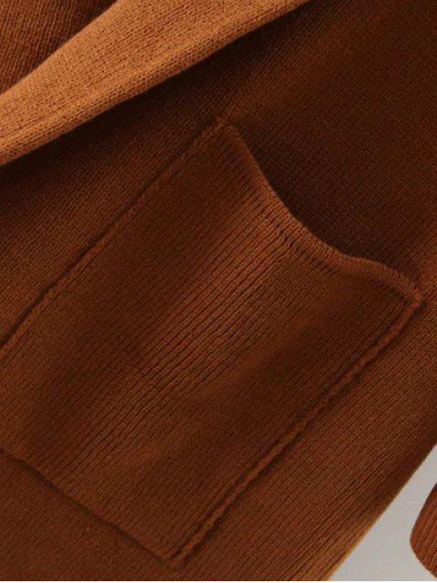 Long Cardigan a capuchon tricoté - Brun TAILLE MOYENNE Mobile