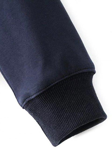 Sweat-shirt pull brodé pain - Bleu Violet S Mobile