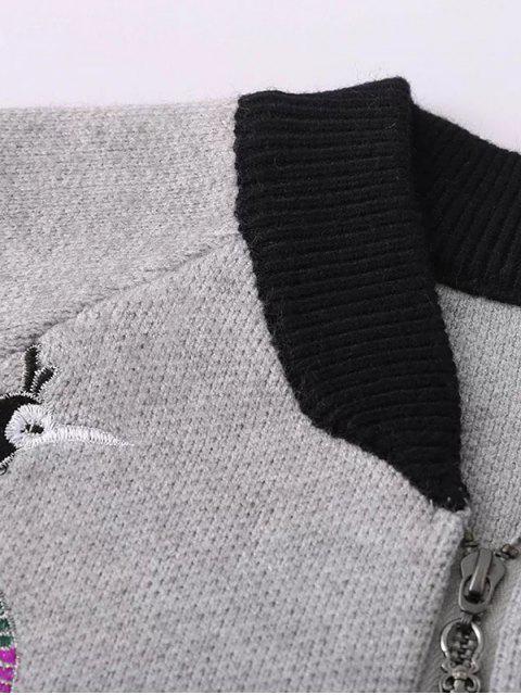 Cardigan zippé avant avec broderie florale - Gris TAILLE MOYENNE Mobile
