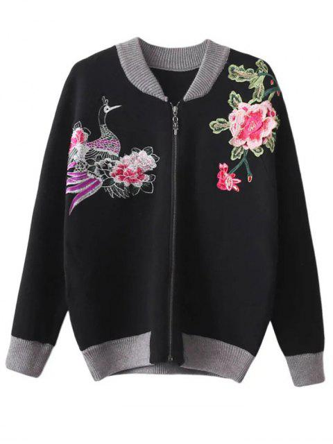 lady Front Zipper Floral Embroidered Cardigan - BLACK ONE SIZE Mobile