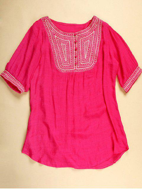 unique Embroidered Bib Tunic Top - ROSE RED ONE SIZE Mobile