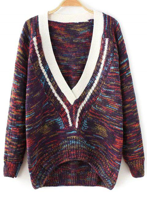 best Plunging Neck Space Dyed Sweater - PURPLE ONE SIZE Mobile