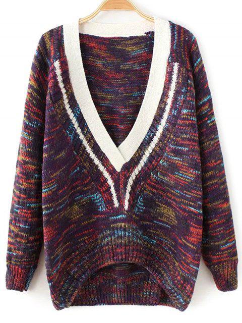 Raumgefärbter Pullover mit tiefem Ausschnitt - Lila Eine Größe Mobile