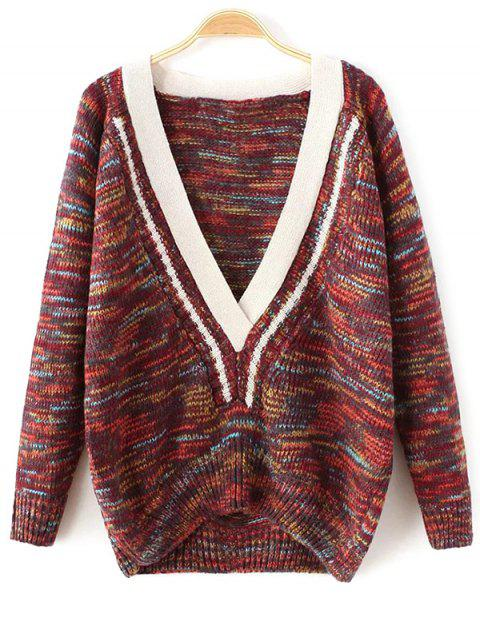 new Plunging Neck Space Dyed Sweater - DARK RED ONE SIZE Mobile