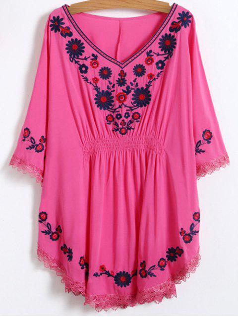 online Floral Embroidered Kaftan Top - ROSE RED ONE SIZE Mobile