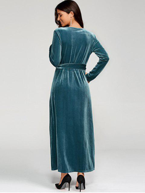 latest Belted Velvet Robe Long Dress With Sleeves - PEACOCK BLUE M Mobile