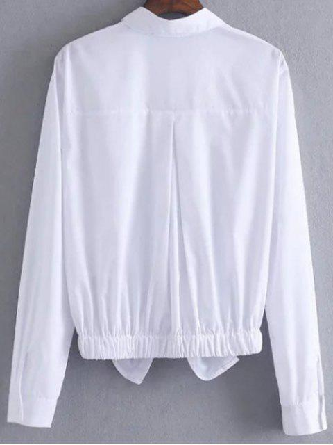 women's Patched Blouse With Front Knot - WHITE M Mobile