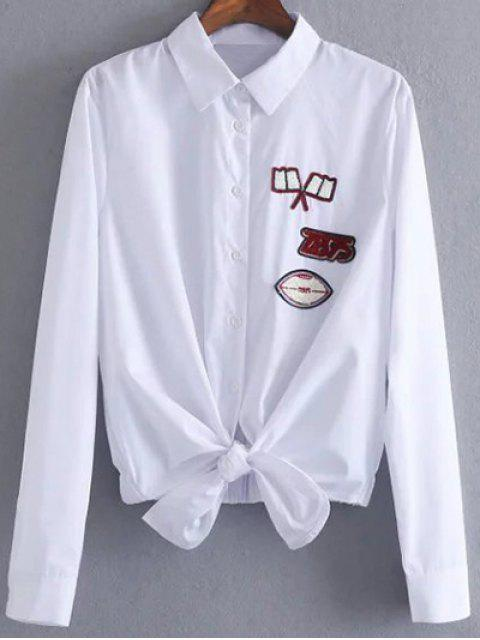 Blouse patch avec nœud de cravate avant - Blanc M Mobile