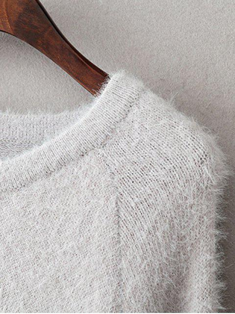 best Jacquard Knit Fluffy Jumper - GRAY ONE SIZE Mobile