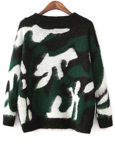 Pull-over camouflage col V - Vert TAILLE MOYENNE Mobile