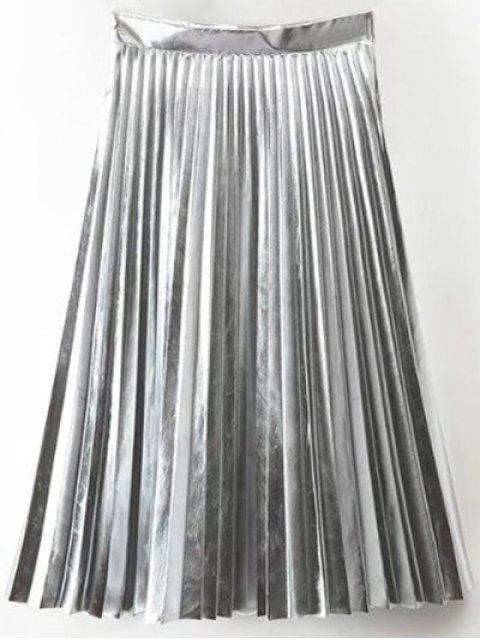 trendy PU Leather Accordion Pleat Skirt - SILVER S Mobile