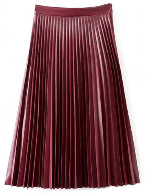 unique PU Leather Accordion Pleat Skirt - WINE RED L Mobile