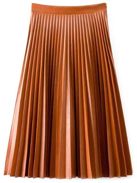 women PU Leather Accordion Pleat Skirt - DARKSALMON S Mobile