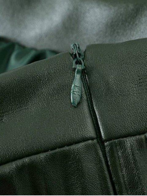 women PU Leather Accordion Pleat Skirt - DARKSALMON S Mobile