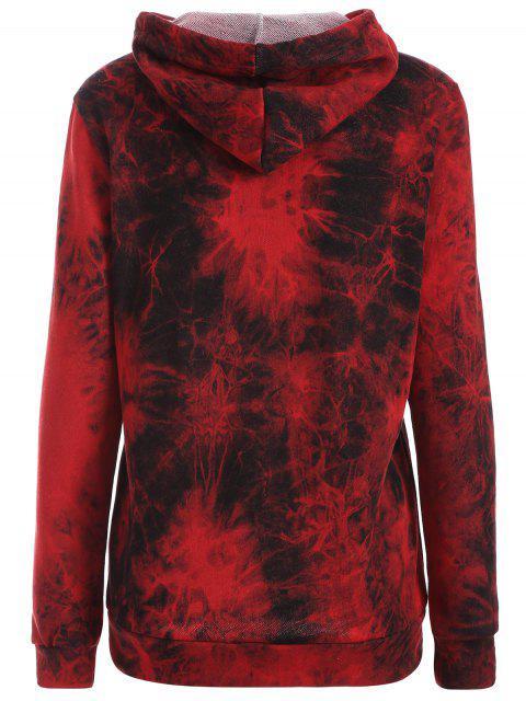 fancy Fit Tie Dye Pocket Hoodie - DEEP RED M Mobile