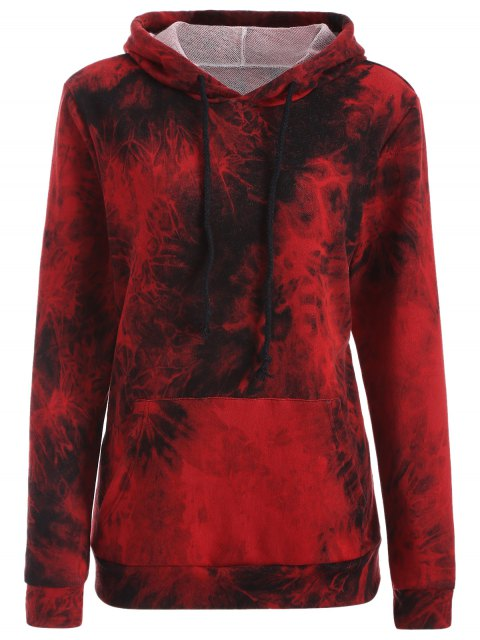 unique Fit Tie Dye Pocket Hoodie - DEEP RED S Mobile