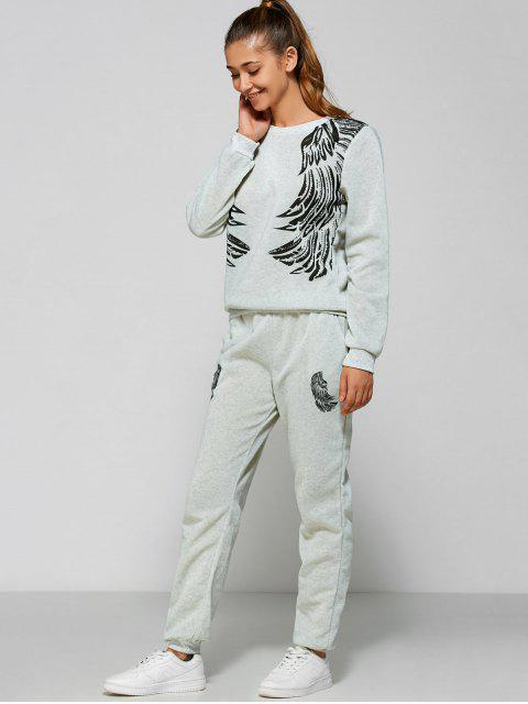 unique Wings Printed Sweatsuit - LIGHT GRAY L Mobile