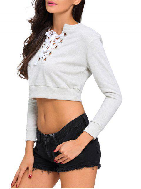 shop Lace Up Cropped Top - LIGHT GRAY L Mobile