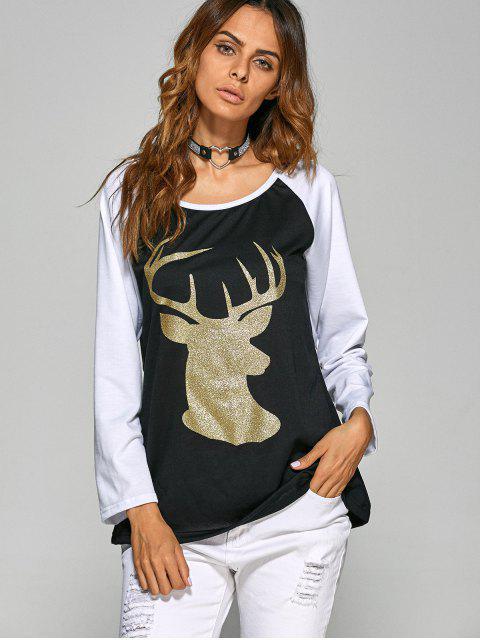 buy Raglan Sleeve Christmas Deer Spliced Tee - BLACK M Mobile