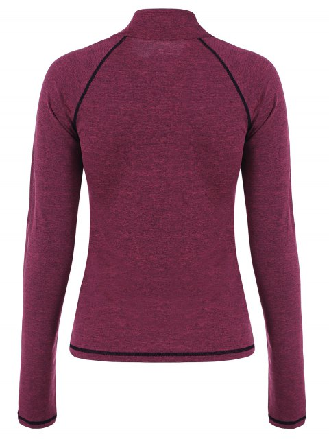 lady Breathable Heather Sporty Zip Up Jacket - DARK RED S Mobile