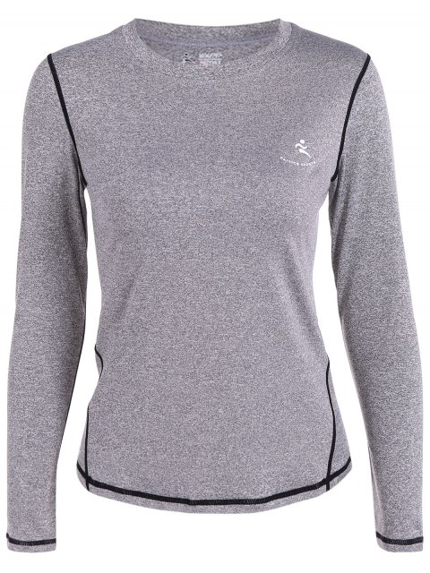shops Long Sleeves Fit Gym T-Shirt - GRAY S Mobile