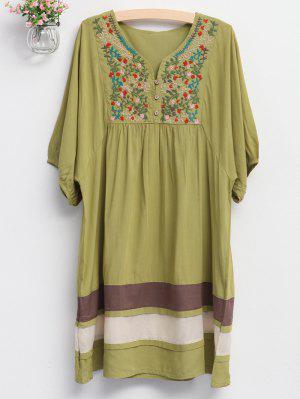 Vestido Tunica Bordado Y Malla - Verde