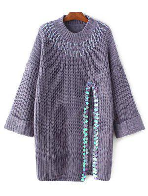 Sequins High Slit Beaded Sweater Dress - Purple