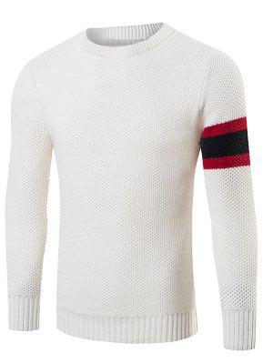 Streifen-Muster Stricken Crew Neck Sweater