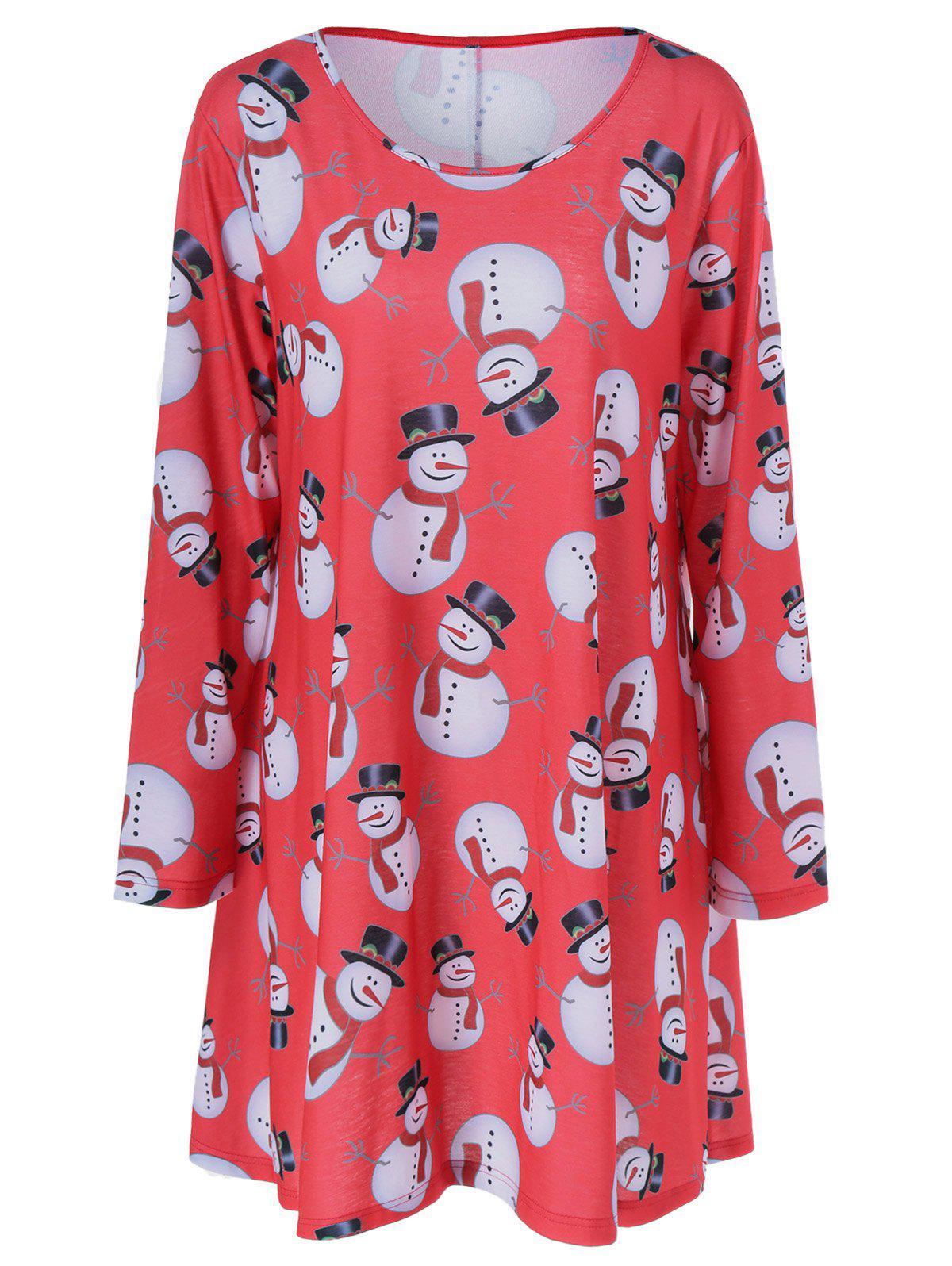 Christmas Snowman Pattern Plus Size Dress 198079203