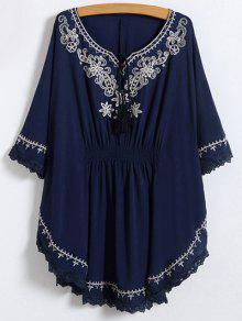 Tie Neck Embroidered Kaftan Top - Purplish Blue