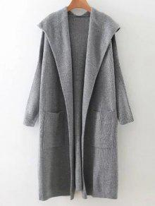 Long Hooded Knitted Cardigan - Gray