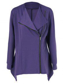 Buy Plus Size Asymmetric Side Zipper Jacket - PURPLE XL