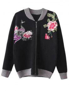Front Zipper Floral Embroidered Cardigan - Black