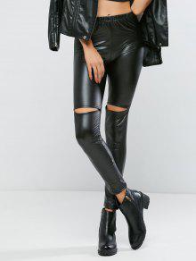 Ripped Pu Bodycon Pantalones - Negro S