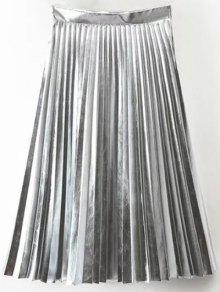 PU Leather Accordion Pleat Skirt - Silver S